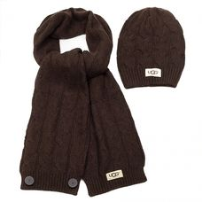 UGG Textile Cardi Scarf and Hat Chocolate