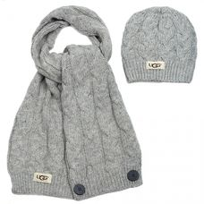 UGG Textile Cardi Scarf and Hat Grey